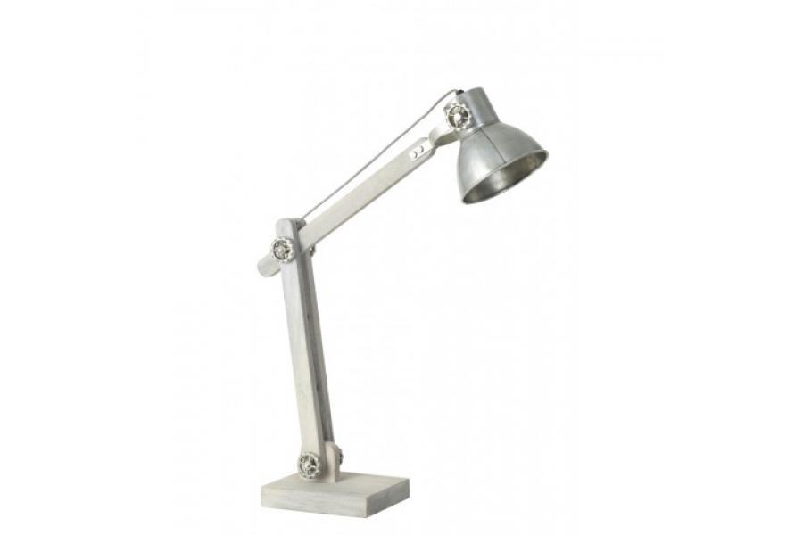 Tafellampen bureaulamp ekerd hout grijs met oud zilver